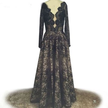 Deep V Neck A Line Sexy Backless Long Sleeve Lace Formal Evening Gowns Dresses Special Occasion Dresses