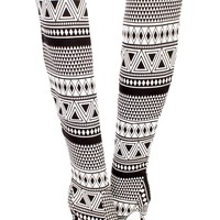 Black White Tribal Print Single Sole Thigh High Heel Boots Fabric