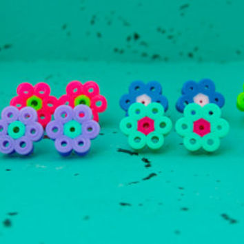 Bright and Fun Flower Perler Bead Earrings