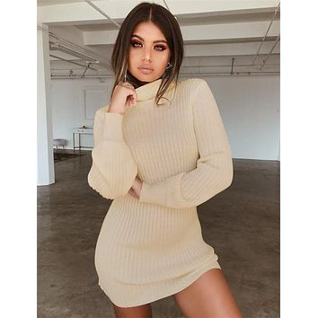 Autumn Knitted Long Sleeve Dress Solid Pullover Turtleneck Bodycon Dress Mini Latern sleeve Sweater Vintage Sexy Slim Dress