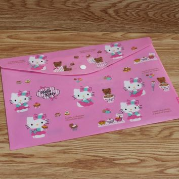 1 Pcs Cute A4 Cat Hello Kitty Waterproof PP Buckle Document Bag File Folder Stationery Filing Production Office School Supplies