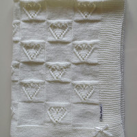 Cotton thin knitted heart blanket for coming baby
