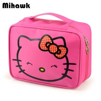 Mihawk Girl's Hello Kitty Cosmetic Bag Cute Travel Makeup Organizer Case Beautician Beauty Suitcase Accessories Supplies Product