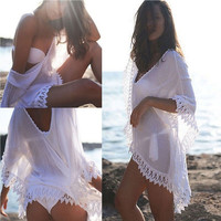 Fashion Womens Summer Style Dress Beach Wear Chiffon Lace Crochet Bikini Swimming Beach Cover Up Swimwear Shirt (one Size) = 5657587905
