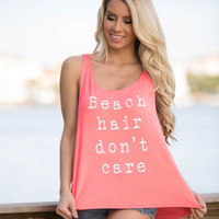 """Beach Hair Don't Care"" Letter Print Sleeveless T-Shirt"