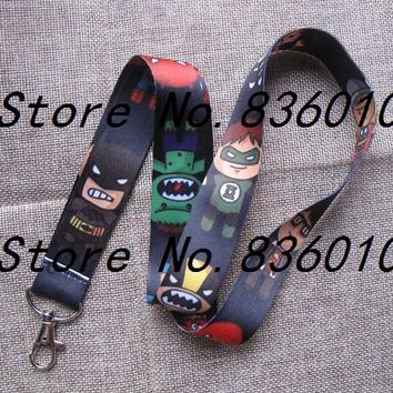 Hot Sale! 10 pcs Cartoon Avengers Key Chains Mobile Cell Phone Lanyard Neck Straps   Favors SZ-606