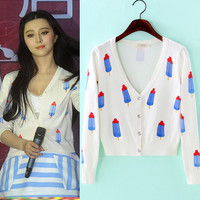 Spring Fan Bingbing star ice cream print shawl knitted cardigan single breasted v neck sweater jacket outwear
