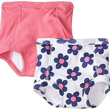 Gerber Baby-Girls Infant Flowers 2 Pack Training Pant with Peva Lining, Flowers, 2T/3T