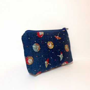 Small Fabric Pouch Small Zipper Pouch Small Change Purse - Japanese Parasols in Indigo