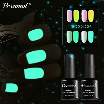 Vrenmol 1pcs Glow In The Dark Gel Varnish UV Nail Gel Polish Esmalte for Nails Fluorescent Luminous Colorful Neon Gel Lacquer