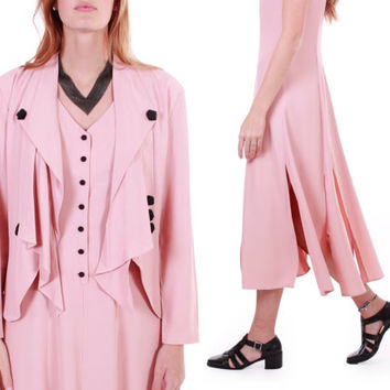 Vintage Pastel Pink Two Piece Outfit Draped Jacket Dress 20's Flapper Style Unique Matching Clothing Womens Size  Medium