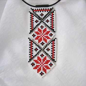 Tribal jewelry Ethnic ornament mosaic Polymer Women Necktie Folk Ornament Elegant Jewelery Ornament Polymer clay jewelry