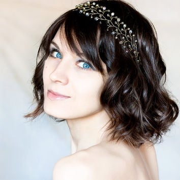 Gold Crystals Tiara, Gray Hair accessory, Twigs tiara, Crystals hair accessories, Romantic Сrystals crown, Gold tiara, Party Fashion