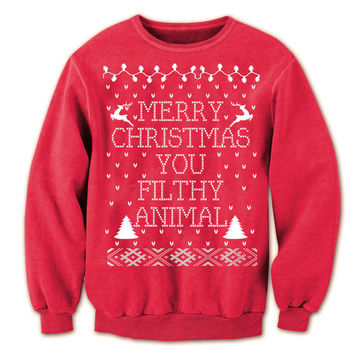 Ugly Christmas Sweater Merry CHRISTMAS You FILTHY Animal - ya funny retro movie xmas ugly sweater contest party humorous new - Womens Unisex