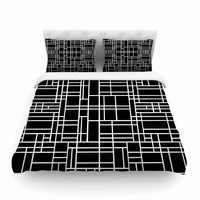 "Project M ""Map Outline Black"" Simple Geometric Featherweight Duvet Cover"