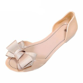 Jelly Sandals for women Hot Summer Butterfly-knot Slip flats shoes