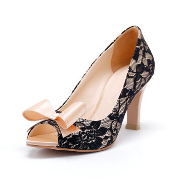 Champagne Peep Toe Court Shoes with Black Lace, Champagne Bridal Heels, Champagne Wedding Heels,  Three and a Half Inch Lace Dinner Heels
