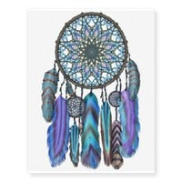 Dream catcher with a magic bird turquoise feathers temporary tattoos