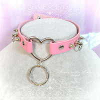 BDSM Daddys Girl Choker Necklace Pink Faux Leather Heart Spikes O Ring Kitten Play Collar pastel goth Lolita Neko Cat DDLG