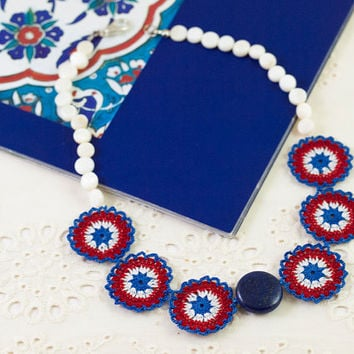 Blue Red Crochet Lace Necklace - Statement Necklace - Nacre Pearl & Lapis Lazuli Gemstone - Fiber Art Jewelry - Ottoman Iznik Tile