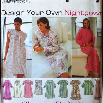 Simplicity 9289 Pattern for Design Your Own Nightgown, Size XS, S, M, FACTORY FOLDED & UnCUT, 1996, Easy to Sew, Chemise de nuit