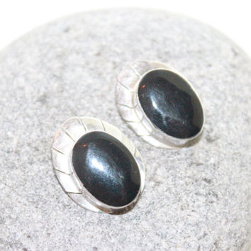 Vintage Mexican Sterling Silver and Black Lucite Clip On Earrings ONYX