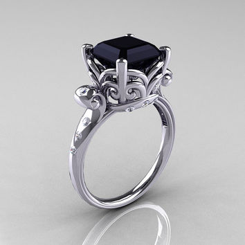 Modern Antique 10K White Gold 2.6 Carat Emerald Cut Black Diamond Solitaire Ring R166-10WGDBD