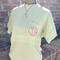 Monogrammed Comfort Colors Pocket Tee | Comfort Colors Pocket Shirt | Monogram Shirt | Monogram Comfort Colors | Lilly Pulitzer Monogram