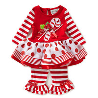 Rare Editions 3-24 Months Christmas Candy Cane Mixed-Media Dress & Striped Leggings Set | Dillards