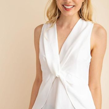 Twisted Front Sleeveless Top - White
