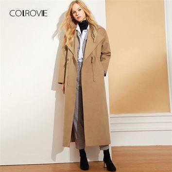 COLROVIE Camel Solid Pocket Drawstring Elegant Winter Wool Blend Long Coat Women Clothes Office Outerwear & Coats