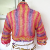 Pastel silk shrug, kid mohair and silk sweater shrug, luxurious hand knit cardigan bolero