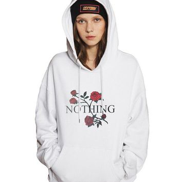 Womens Floral Print Pullover Sweater Hoodies +Gift Necklace