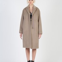 Minimalism Tropfenf?rmig Zippered Coat _ Grey-Brown