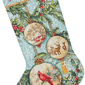 """Enchanted Ornament Stocking (16 Count) Dimensions Gold Collection Counted Cross Stitch Kit 16"""" Long"""