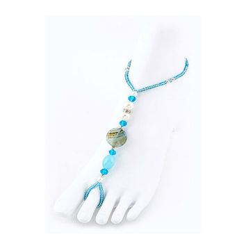 Pearl & Turquoise Mix Beads Stretch Barefoot Sandals Beach - 1 Pair