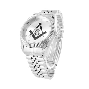 Mens Masonic G Symbol Metal Band Watch