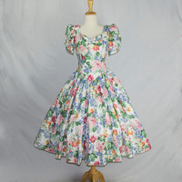 Vintage Floral Print Princess Dress 1980s Full Skirt and Puff Sleeves