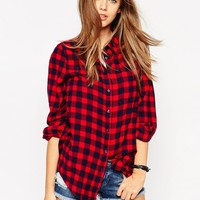 ASOS Boyfriend Shirt in Red Check