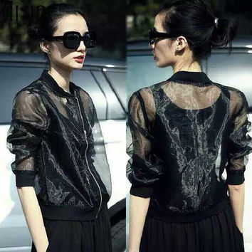Hipster 2017 Summer women jacket Fashion Sun Proof See-through Mesh Jackets Women Sexy cool Transparent Extra Thin Organza Coat