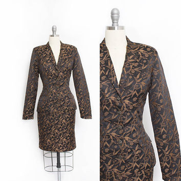 Vintage Betsey Johnson Suit - 1990s Bamboo Brocade Jacket & Mini Skirt - XS Extra Small