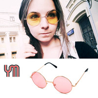 Uinsex MultiColor Round Sunglasses Golden Frame Glasses Shades Hippie Lennon Ozzy Vintage Steampunk Gradient Mirror Lens 030-263