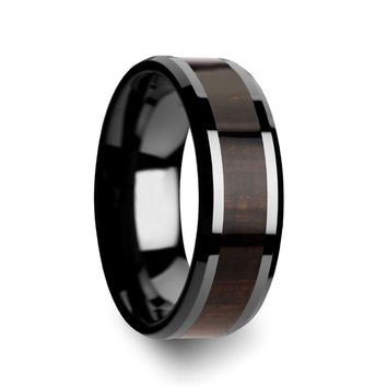 Men's Beveled Black Ceramic Wedding Band With Black Ebony Wood Inlay 8mm
