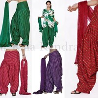 Indian Ethnic Women Traditional Lahariya Patiala Salwar Dupatta Stole Punjabi