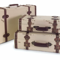 IMAX Antique Ivory Suitcases (Set of 3)