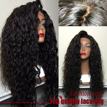 Hot! Top Quality Fiber Loose Curly Wigs Synthetic Lace Front Wigs 180% Density Black Color Heat Resistant Synthetic Hair Wigs