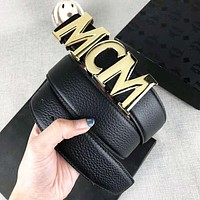 MCM Fashion New Letter Buckle Women Men Leisure Leather Belt Black