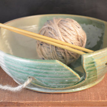 Handmade Ceramic Knitting, Crocheting, Yarn Bowl - Needle Holders - Ivory White and Moss Green