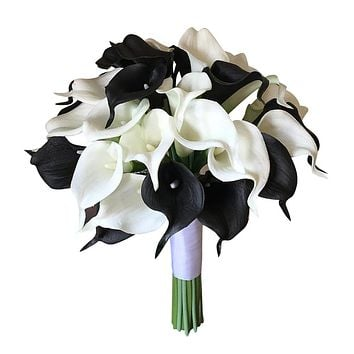 Large Real Touch Calla Lily Bouquet - Lifelike Black and White Artificial Flowers