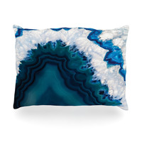 "KESS Original ""Blue Geode"" Nature Photography Oblong Pillow"